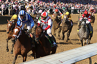 30th April 2021; Kentucky, USA;  Malathaat (10) ridden by jockey John Velazquez wins and Irad Ortiz, Jr. aboard Search Results in the 147th running of the Longines Kentucky Oaks  on April 30, 2021 at Churchill Downs in Louisville, Kentucky.