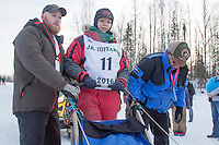 Joan Klejka At the start of the 2016 Junior Iditarod Sled Dog Race on Willow Lake  in Willow, AK February 27, 2016