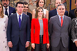 Queen Letizia of Spain receive in audience to the winners of the national fashion awards 2016 at Zarzuela Palace in Madrid, April 13, 2016. (ALTERPHOTOS/BorjaB.Hojas)