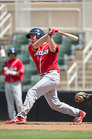 Austin Bossart (17) of the Lakewood BlueClaws follows through on his swing against the Kannapolis Intimidators at Kannapolis Intimidators Stadium on May 8, 2016 in Kannapolis, North Carolina.  The Intimidators defeated the BlueClaws 3-2.  (Brian Westerholt/Four Seam Images)