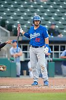 Tulsa Drillers catcher Steve Berman (22) steps to the plate on May 13, 2019, at Arvest Ballpark in Springdale, Arkansas. (Jason Ivester/Four Seam Images)
