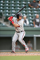Designated hitter Jefrey Ramos (22) of the Rome Braves bats in Game 1 of a doubleheader against the Greenville Drive on Friday, August 3, 2018, at Fluor Field at the West End in Greenville, South Carolina. Rome won, 7-6. (Tom Priddy/Four Seam Images)