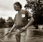 Quecreek, Pennsylvania.July 9, 2003..Dennis Hall, one of the 9 rescued miners, near the Quecreek mine, one year after...
