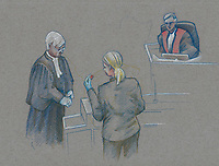Montreal - CANADA - File images -  An artist's sketch shows Luka Rocco Magnotta, at his trial for the murder of Jin Li, October 1st, 2014.<br /> <br />  It is one of the most grisly and sensational murder trials in Canadian history<br /> <br /> Image :  Agence Quebec Presse  - Atalante