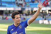 SAN JOSE, CA - AUGUST 8: Carlos Fierro #7 of the San Jose Earthquakes celebrates after a game between Los Angeles FC and San Jose Earthquakes at PayPal Park on August 8, 2021 in San Jose, California.