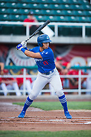 Ogden Raptors third baseman Marcus Chiu (13) at bat during a Pioneer League game against the Orem Owlz at Home of the OWLZ on August 24, 2018 in Orem, Utah. The Ogden Raptors defeated the Orem Owlz by a score of 13-5. (Zachary Lucy/Four Seam Images)