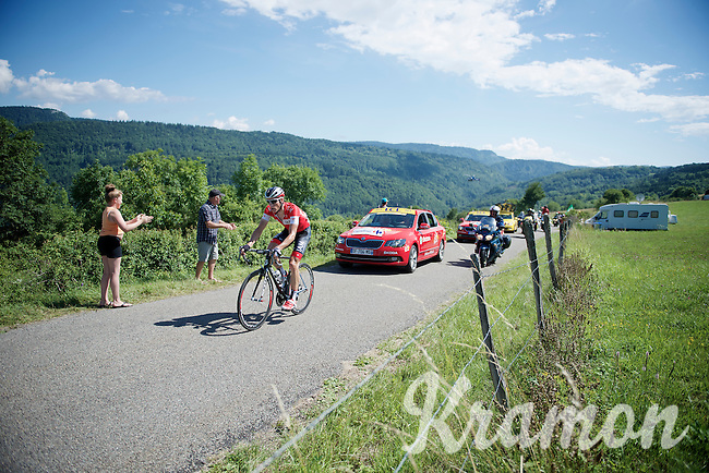 Suisse National Champion Martin Elmiger (SUI/IAM) leads the race (solo) over the Côte de Rogna (7.6km/4.9%)<br /> <br /> 2014 Tour de France<br /> stage 11: Besançon - Oyonnax (187km)