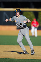 Ryan Howard (8) of the Missouri Tigers takes his lead off of first base against the Radford Highlanders at Wake Forest Baseball Park on February 21, 2014 in Winston-Salem, North Carolina.  The Tigers defeated the Highlanders 15-3.  (Brian Westerholt/Four Seam Images)