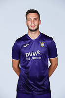 30th July 2020, Turbize, Belgium; Luka Adzic midfielder of Anderlecht pictured during the team photo shoot of Rsc Anderlecht prior the new Jupiler Pro League season, on 30/07/2020, in Tubize, Belgium.