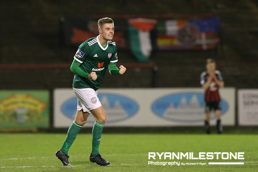 Niall Logue of Derry celebrates at the end of the SSE Airtricity League Premier Division game between Bohemians and Derry City on Tuesday 27th February 2018 at Dalymount Park, Dublin. Photo By: Michael P Ryan