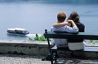 Europe/Italie/Lac de Come/Lombardie/Tremezzo : Le lac vu depuis le jardin de la Villa Carlotta (XVIII°)