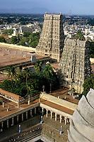 Meenakshi Amman Temple and cityscape of Madurai, Tamil Nadu, India.