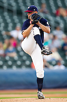 Chris Dwyer (28) of the Northwest Arkansas Naturals delivers a pitch during a game against the San Antonio Missions at Arvest Ballpark on June 30, 2011 in Springdale, Arkansas. (David Welker / Four Seam Images)