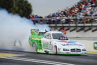 Mar. 10, 2012; Gainesville, FL, USA; NHRA funny car driver Jack Beckman during qualifying for the Gatornationals at Auto Plus Raceway at Gainesville. Mandatory Credit: Mark J. Rebilas-