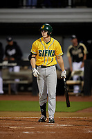 Siena Saints Evan St. Claire (8) bats during a game against the UCF Knights on February 14, 2020 at John Euliano Park in Orlando, Florida.  UCF defeated Siena 2-1.  (Mike Janes/Four Seam Images)