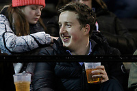 A fan with pint during the Greene King IPA Championship match between London Scottish Football Club and Nottingham Rugby at Richmond Athletic Ground, Richmond, United Kingdom on 7 February 2020. Photo by Carlton Myrie.