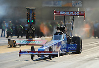 Jun. 30, 2012; Joliet, IL, USA: NHRA top fuel dragster driver T.J. Zizzo during qualifying for the Route 66 Nationals at Route 66 Raceway. Mandatory Credit: Mark J. Rebilas-