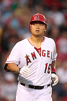 Los Angeles Angels catcher Hank Conger #16 runs to first base against the Baltimore Orioles at Angel Stadium on August 20, 2011 in Anaheim,California. Los Angeles defeated Baltimore 9-8.(Larry Goren/Four Seam Images)