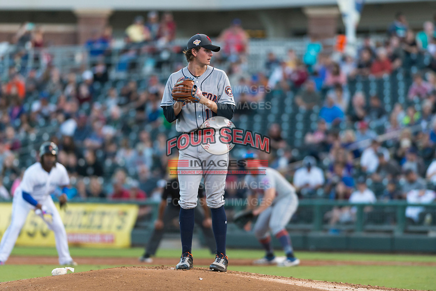 AFL East starting pitcher Forrest Whitley (11), of the Scottsdale Scorpions and the Houston Astros organization, gets ready to deliver a pitch during the Fall Stars game at Surprise Stadium on November 3, 2018 in Surprise, Arizona. The AFL West defeated the AFL East 7-6 . (Zachary Lucy/Four Seam Images)