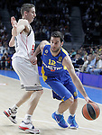 Real Madrid's Jaycee Carroll (l) and Maccabi Electra Tel Aviv's Yogev Ohayon during Euroleague match.March 27,2015. (ALTERPHOTOS/Acero)