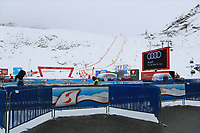 16th October 2020, Rettenbachferner, Soelden, Austria; FIS World Cup Alpine Skiing course set up; Alpine Ski World Cup 2020-2021 - during the Coronavirus Outbreak . One day before the Giant Slalom as part of the Alpine Ski World Cup in Solden ; the finish area with protected areas