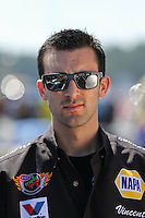 Mar. 15, 2013; Gainesville, FL, USA; NHRA pro stock driver Vincent Nobile during qualifying for the Gatornationals at Auto-Plus Raceway at Gainesville. Mandatory Credit: Mark J. Rebilas-