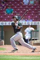 Dayton Dragons catcher Jose Duarte (18) at bat during a game against the Cedar Rapids Kernels on July 24, 2016 at Perfect Game Field in Cedar Rapids, Iowa.  Cedar Rapids defeated Dayton 10-6.  (Mike Janes/Four Seam Images)