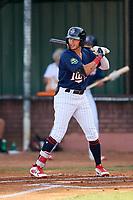 Elizabethton Twins center fielder DaShawn Keirsey (8) at bat during a game against the Bristol Pirates on July 28, 2018 at Joe O'Brien Field in Elizabethton, Tennessee.  Elizabethton defeated Bristol 5-0.  (Mike Janes/Four Seam Images)