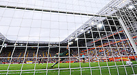Alex Krieger of team USA scores the final penalty against Andreia of team Brazil during the FIFA Women's World Cup at the FIFA Stadium in Dresden, Germany on July 10th, 2011.