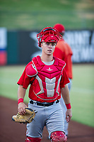 AZL Angels catcher Erven Roper (97) walks to the dugout prior to the game against the AZL White Sox on August 14, 2017 at Diablo Stadium in Tempe, Arizona. AZL Angels defeated the AZL White Sox 3-2. (Zachary Lucy/Four Seam Images)