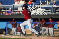Mahoning Valley Scrappers third baseman Austin Fisher (7) at bat during the second game of a doubleheader against the Batavia Muckdogs on July 2, 2015 at Dwyer Stadium in Batavia, New York.  Mahoning Valley defeated Batavia 3-0.  (Mike Janes/Four Seam Images)