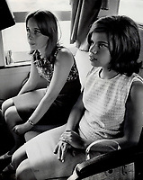 1966 FILE PHOTO <br /> <br /> Quebec premier Daniel Johnson's daughter Diane, 16, right, goes to Windsor for a two-week exchange visit with Maria De Marco, 16. Maria, daughter of the vice-president of Windsor University, spent two weeks at Johnson cottage.<br /> <br /> <br /> <br /> PHOTO :  Jeff Goode - Toronto Star Archives - AQP