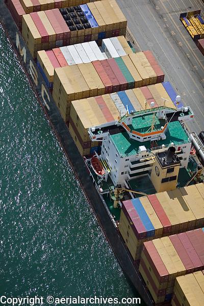 aerial photograph of containership MSC Serena docked at the Port of Montreal, Quebec, Canada | photographie aérienne du porte-conteneurs MSC Serena amarré au port de Montréal, Québec, Canada