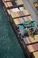 aerial photograph of containership MSC Serena docked at the Port of Montreal, Quebec, Canada | photographie aérienne du porte-conteneurs MSC Serena amarré au port de Montréal, Québec, Canada