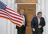 United States President-elect Donald Trump (L) sees off New Jersey Governor Chris Christie at the clubhouse of Trump International Golf Club, in Bedminster Township, New Jersey, USA, 20 November 2016.<br /> Credit: Peter Foley / Pool via CNP