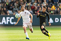 LOS ANGELES, CA - MARCH 01: Rodolfo Pizzaro #10 of Inter Miami CF and Brian Rodriguez #17 of LAFC compete for the ball during a game between Inter Miami CF and Los Angeles FC at Banc of California Stadium on March 01, 2020 in Los Angeles, California.