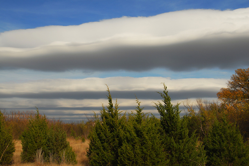 """Stratocumulus undulatus """"billows"""" clouds form in interesting wave-like formations over Norman Oklahoma in early November."""