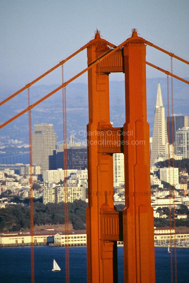 San Francisco, California - Golden Gate Bridge from Marin County, San Francisco's Transamerica Building in the Background