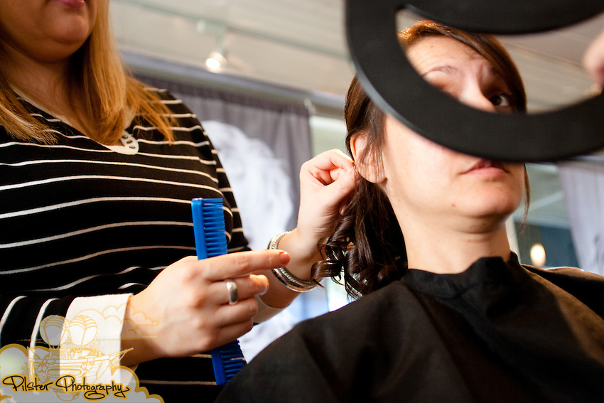 Before the wedding of Shelby Wheeler and John Mack on Saturday November 7, 2009 at Essence Salon & Day Spa in Winter park. The ceremony took place at Sts. Peter & Paul Catholic Church in Winter Park and then moved to the reception at the Historic Dubsdread Ballroom in College Park in Orlando. (Chad Pilster, http://www.PilsterPhotography.net)