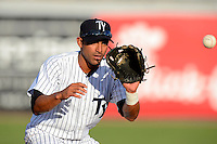 Tampa Yankees shortstop Ali Castillo #12 during a game against the Lakeland Flying Tigers at Steinbrenner Field on April 6, 2013 in Tampa, Florida.  Lakeland defeated Tampa 8-3.  (Mike Janes/Four Seam Images)