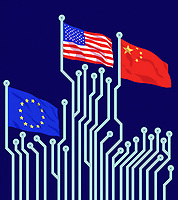 European Union, United States and Chinese flags flying from circuit board poles