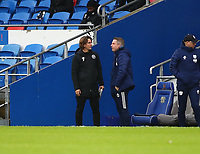 26th December 2020; Cardiff City Stadium, Cardiff, Glamorgan, Wales; English Football League Championship Football, Cardiff City versus Brentford; Neil Harris, Manager of Cardiff City and Thomas Frank, Manager of Brentford greet before kick off