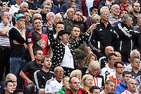 Pictured: Swansea supporters. Saturday 16 August 2014<br /> Re: Premier League Manchester United v Swansea City FC at the Old Trafford, Manchester, UK.
