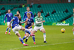 Celtic v St Johnstone…06.12.20   Celtic Park      SPFL<br />Stevie May's shot is saved by Barkas<br />Picture by Graeme Hart.<br />Copyright Perthshire Picture Agency<br />Tel: 01738 623350  Mobile: 07990 594431