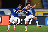 Tommaso Augello of UC Sampdoria (R) celebrates after scoring the goal of 2-0 during the Serie A football match between UC Sampdoria and SS Lazio at stadio Marassi in Genova (Italy), October 17th, 2020. <br /> Photo Image Sport / Insidefoto