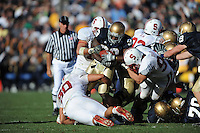 South Bend, IN - OCTOBER 4:  Linebacker Pat Maynor #44, defensive end Tom Keiser #94, and defensive end Erik Lorig #80 of the Stanford Cardinal during Stanford's 28-21 loss against the Notre Dame Fighting Irish on October 4, 2008 at Notre Dame Stadium in South Bend, Indiana.