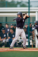 GCL Yankees East catcher Alex Guerrero (49) at bat during the first game of a doubleheader against the GCL Pirates on July 31, 2018 at Pirate City Complex in Bradenton, Florida.  GCL Yankees East defeated GCL Pirates 2-0.  (Mike Janes/Four Seam Images)