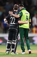 20th December 2020; Hamilton, New Zealand;  Kane WIlliamson shakes hands after the match, New Zealand Black Caps versus Pakistan, International Twenty20 Cricket. Seddon Park, Hamilton, New Zealand.