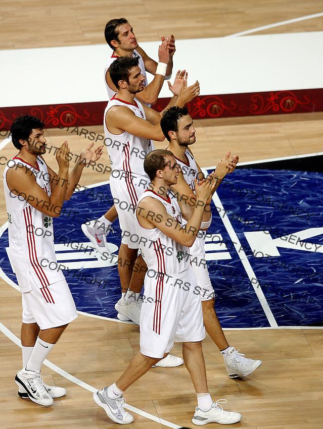 Turkey players after defeat the Final World championship basketball match against USA in Istanbul, Turkey-USA, Turkey on Sunday, Sep. 12, 2010. (Novak Djurovic/Starsportphoto.com) .