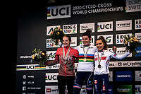 Podium:<br /> <br /> 1st place - Marion Riberolle (FRA)<br /> 2nd place - Kata Blanka Vas (HUN)<br /> 3th place - Anna Kay (GBR)<br /> <br /> Women's U23 race<br /> UCI 2020 Cyclocross World Championships<br /> Dübendorf / Switzerland<br /> <br /> ©kramon